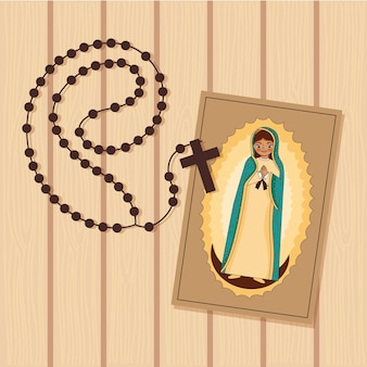 Print of the virgin of guadalupe with holy rosary over wooden