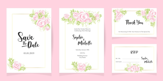 Print wedding invitation card template save the date floral set