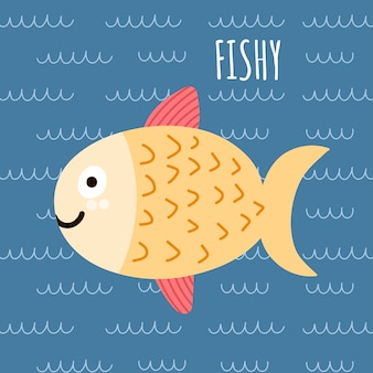 Print with a cute fish and text fishy.