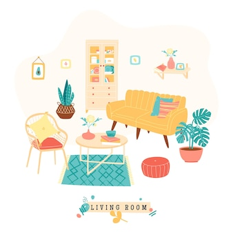 Print with interior of modern living room or apartment