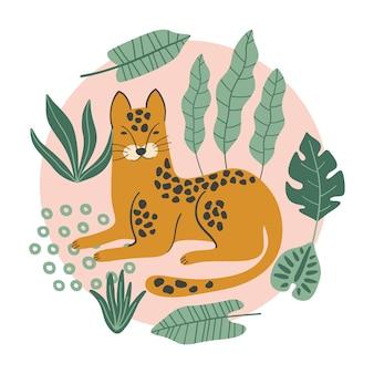 Печать с леопардом и тропическими листьями.