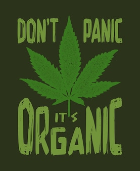 Print with marijuana for a t shirt illustration
