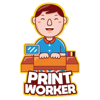 Print worker profession mascot logo vector in cartoon style
