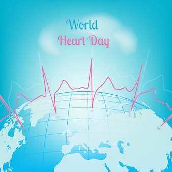 Print world heart day cardiogram