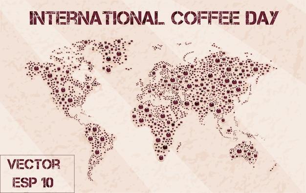 世界地図のコーヒー泡を印刷する