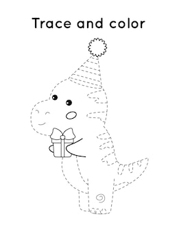 Printable activity worksheet - trace and color. cartoon dinosaur t-rex with birthday present.