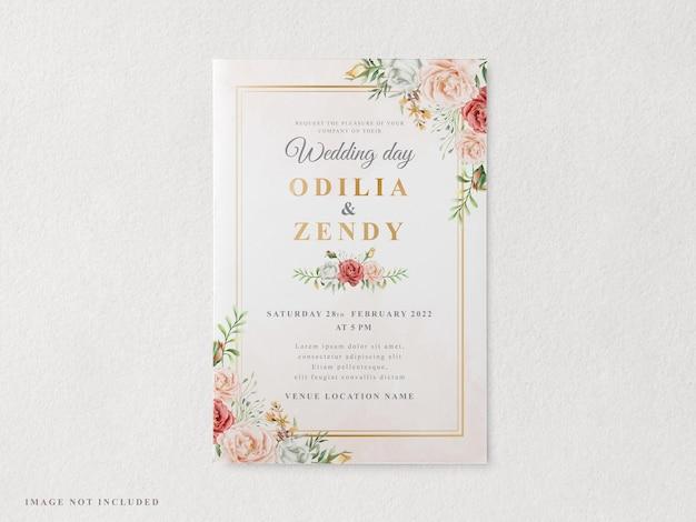 Элегантный шаблон свадебного приглашения для печати