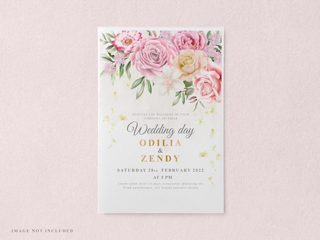印刷可能でエレガントな結婚式の招待カードのテンプレート