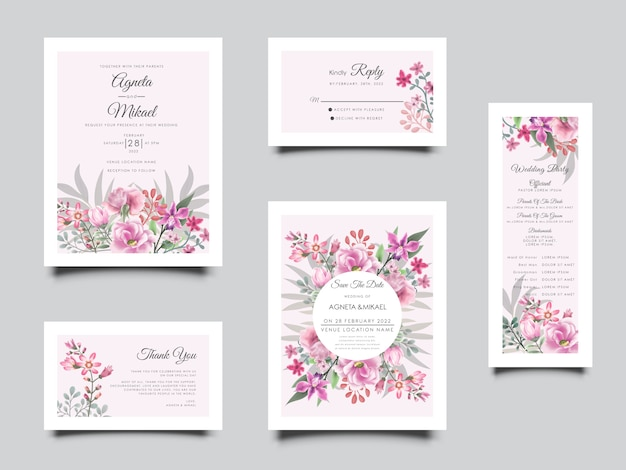 Printable beautiful flower and leaves wedding invitation template