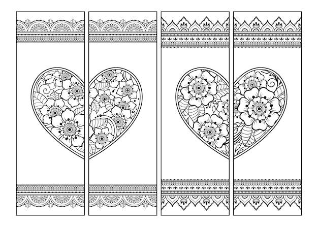 本の印刷可能なブックマーク-ぬりえ。一時的な刺青スタイルのハートと花のパターンを持つ黒と白のラベルのセット。色鉛筆で子供と大人の創造性のための装飾品のスケッチ。