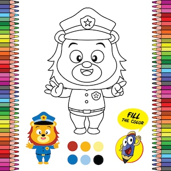 Printable coloring page worksheet, school supply brain games of lion policeman