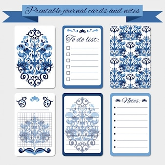 Printable damask journal cards and notes