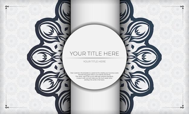 Шаблон для печати дизайн фона со старинным орнаментом. шаблон белый баннер со старинными орнаментами мандалы и местом для вашего логотипа.