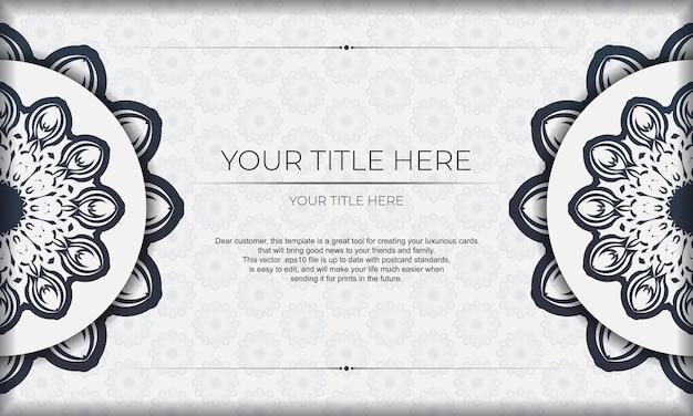 Шаблон для печати дизайн фона со старинным орнаментом. белый векторный баннер с орнаментом мандалы и место для вашего логотипа и текста.