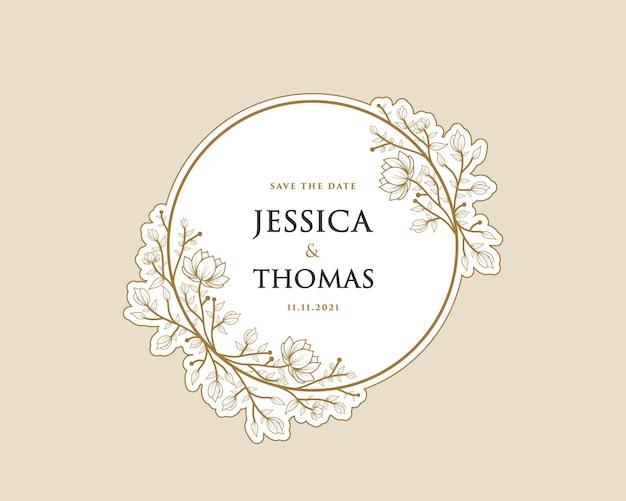 Printable feminine botanical wreath logo sticker for bouquet spa beauty salon boutique wedding card