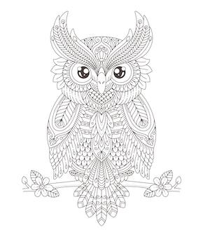 Раскраски для печати мандала сова