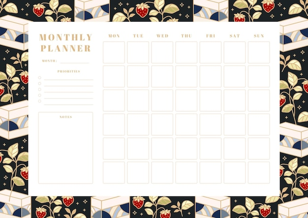 Printable monthly planner, school scheduler template with hand drawn cake, floral, and strawberry elements