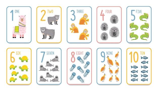 就学前の学習のための動物と印刷可能な数字のフラッシュカード。子供のための英語の数学。