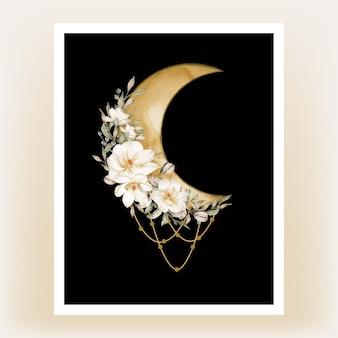 印刷可能なポスターイラスト。白いモクレンの花と水彩の半月