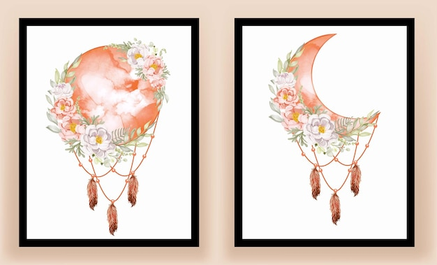 印刷可能なウォールアート。エレガントな水彩画の満月の白いモクレンの花