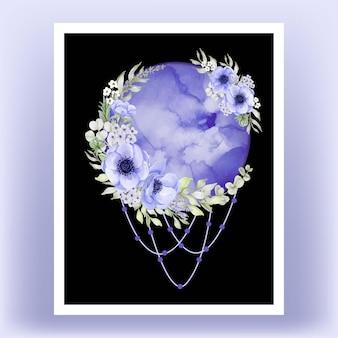 印刷可能なウォールアートのイラスト。水彩の夢満月紫アネモネの花