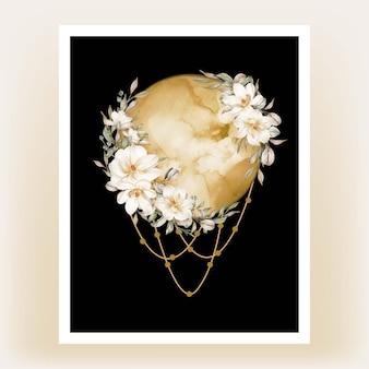 Printable wall art illustration. watercolor dream full moon white magnolia flower