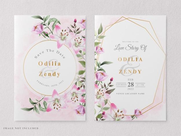 아름 다운 꽃 손으로 그린 인쇄용 결혼식 초대 카드 서식 파일