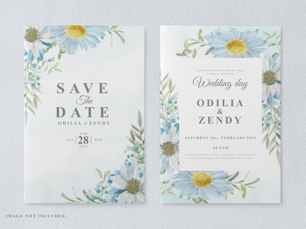 Printable wedding invitation card template with beautiful floral hand drawn