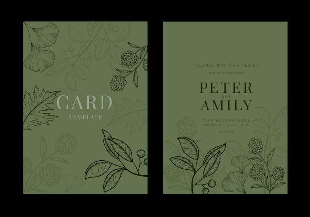 Печатная карточка свадебных приглашений с зелеными листьями.
