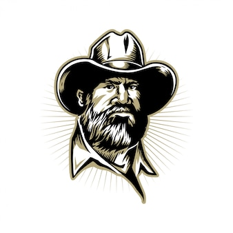 Printbeards man hand drawn illustration for logo design