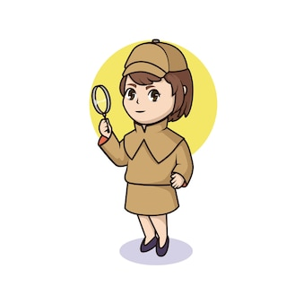 Printcute detective girl holding magnifying glass