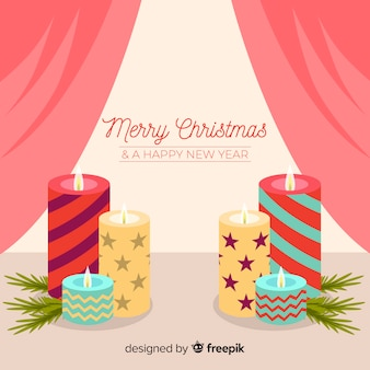 Printed candles christmas background