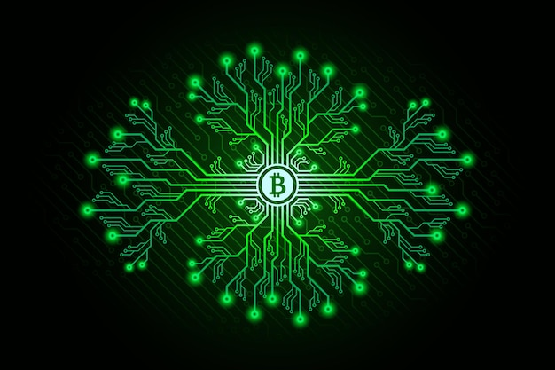 Printed circuit board branches with bitcoin sign and glowing effects. bitcoin mining concept