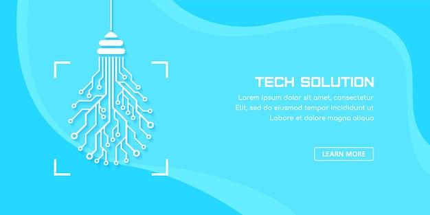 인쇄 회로 기판 전구입니다. 기술 솔루션 개념 배너입니다. 텍스트에 대 한 장소 기술 템플릿 디자인