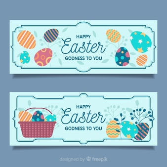 Printed eggs easter banner