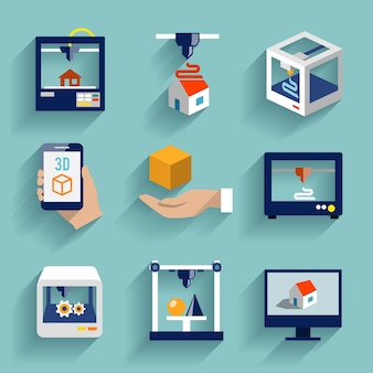 Printer 3d flat icons set of modern architecture futuristic building process isolated vector illustration