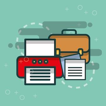 프린터 비즈니스 서류 가방 및 종이 문서 사무실
