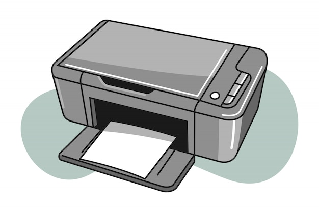 Мультфильм иллюстрация принтера