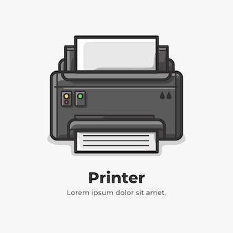 프린터 귀여운 플랫 만화 일러스트 레이션