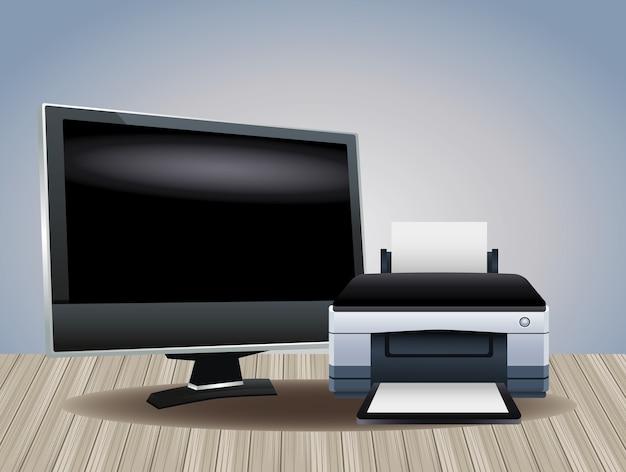 Аппаратное обеспечение принтера и компьютерные устройства монитора