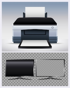 Printer hardware machine and monitor computer devices