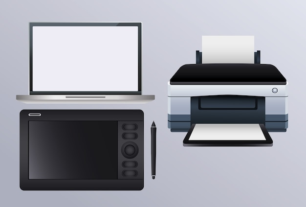 Printer hardware machine with graphic tablet and laptop