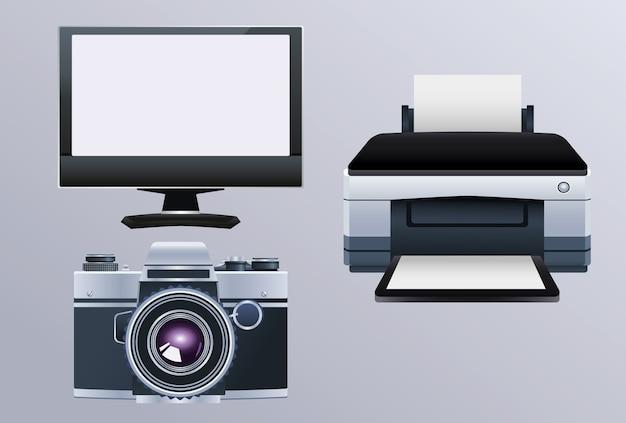 Printer hardware machine with monitor and camera