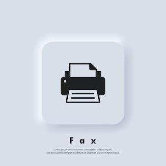 프린터 아이콘입니다. 팩스 아이콘입니다. 팩스 로고. 벡터. ui 아이콘입니다. neumorphic ui ux 흰색 사용자 인터페이스 웹 버튼입니다. 뉴모피즘