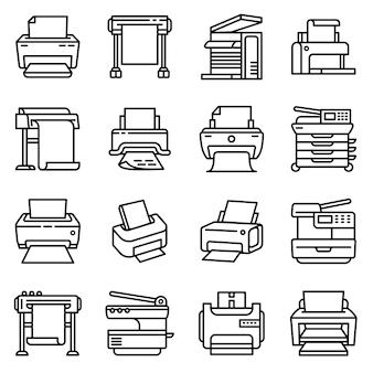 Значок принтера, стиль контура
