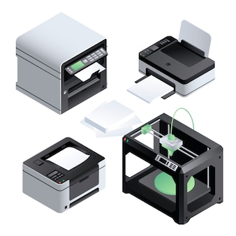 Printer icon set. isometric set of printer