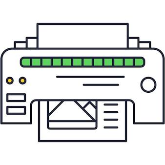 프린터 아이콘 벡터 잉크 인쇄물 개요 그림