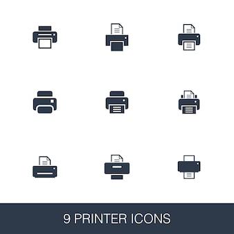 Набор иконок принтера. знаки глифа простой дизайн. шаблон символа принтера. значок универсального стиля, может использоваться для веб-интерфейса и мобильного интерфейса.