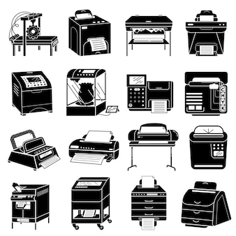Printer icons set, simple style