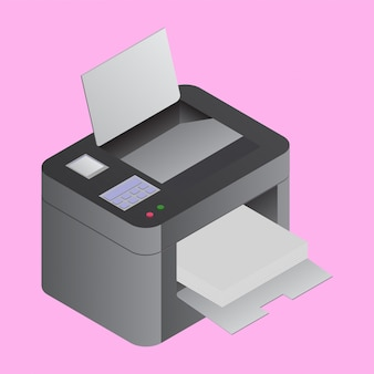 Printer machine in 3d style
